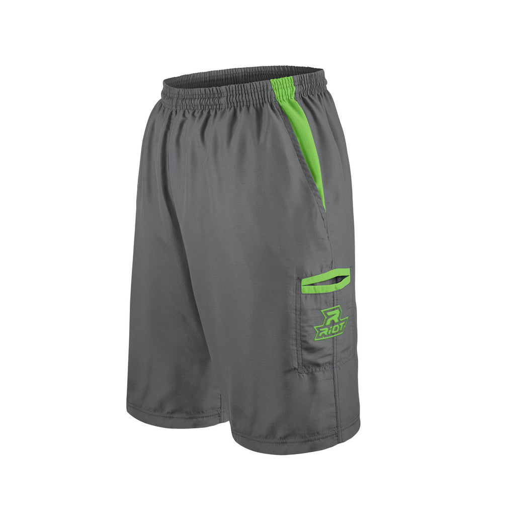 Charcoal Shorts with Lime Green Riot Logo