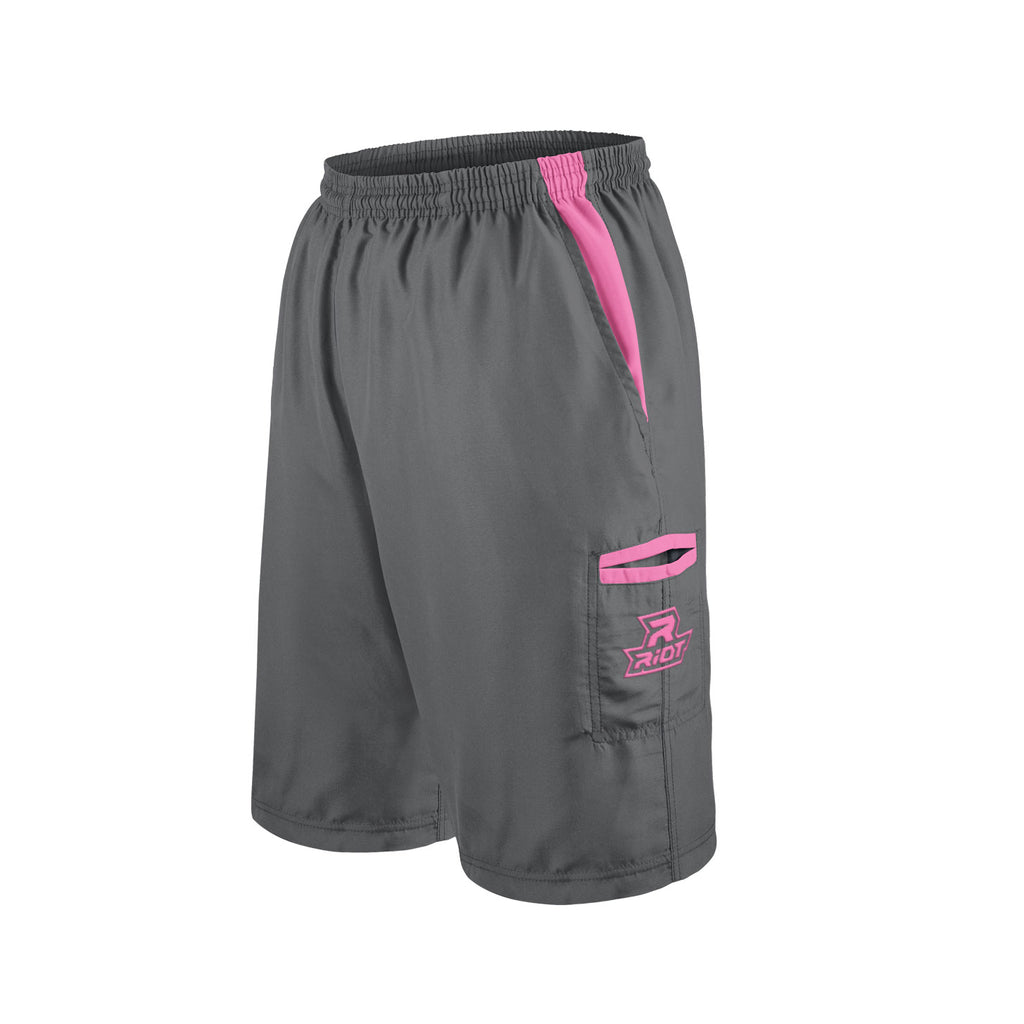 Charcoal Shorts with Pink Riot Logo