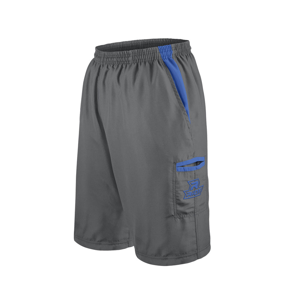Charcoal Shorts with Royal Blue Riot Logo