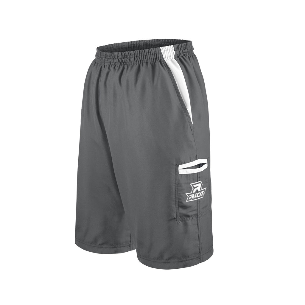 Charcoal Shorts with White Riot Logo