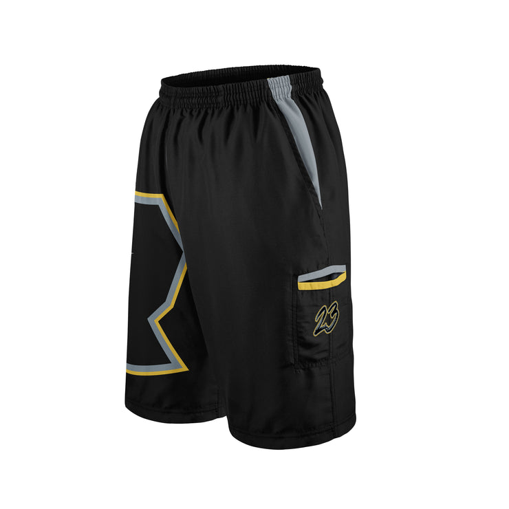 **BUY IN** Silver & Gold Blackout Full Dye Riot Microfiber Shorts Preorder - Customizable