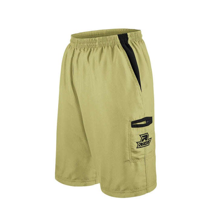 Beige Shorts with Black Riot Logo