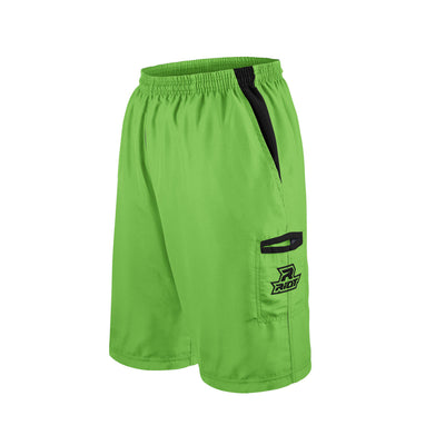 Lime Green Shorts with Black Riot Logo