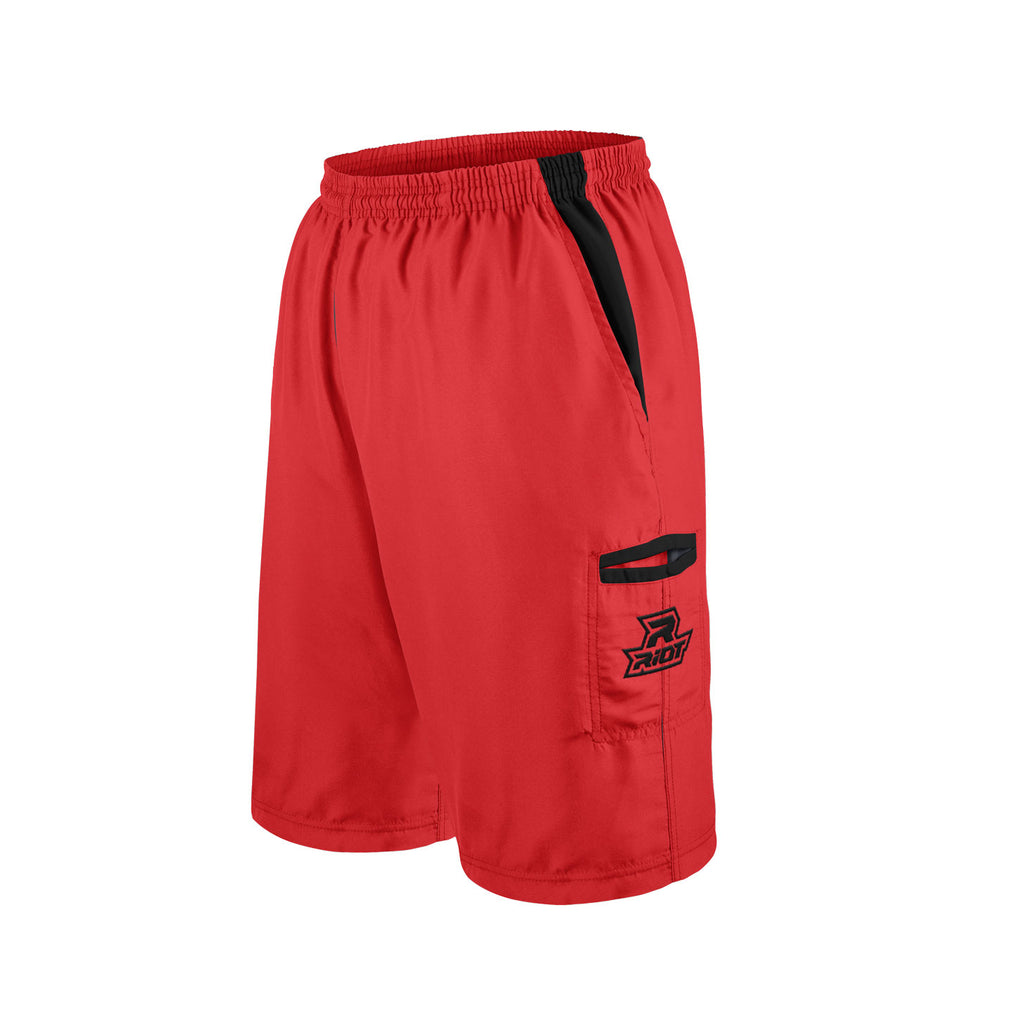 Red Shorts with Black Riot Logo