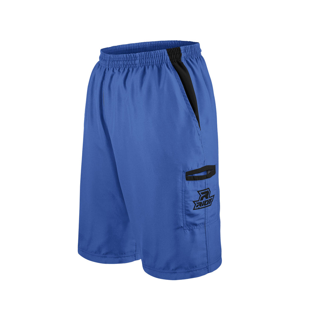Royal Blue Shorts with Black Riot Logo