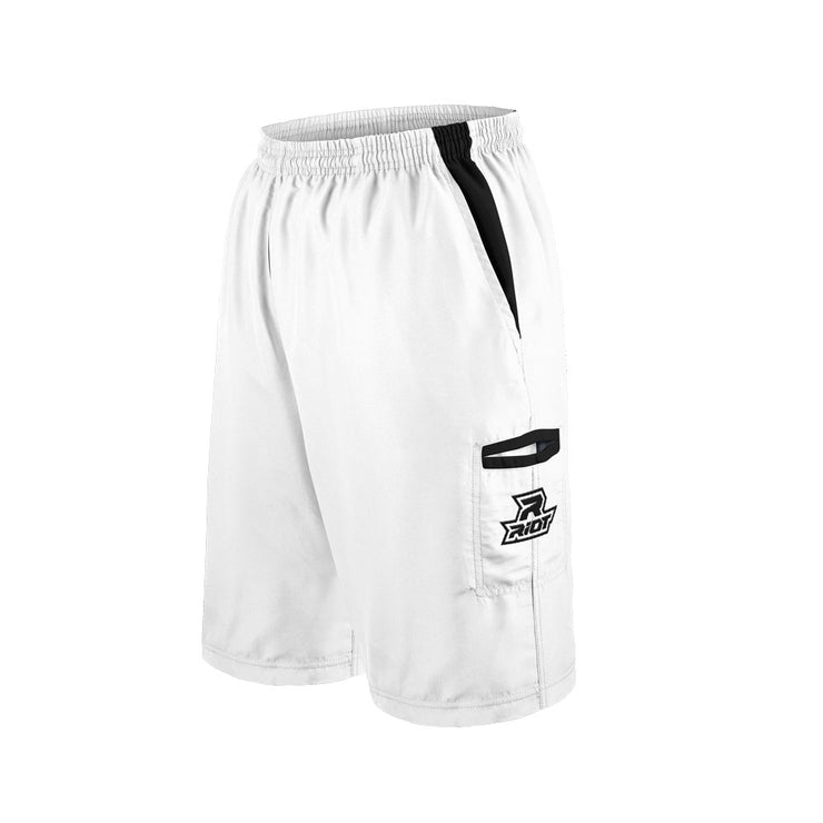 White Shorts with Black Riot Logo