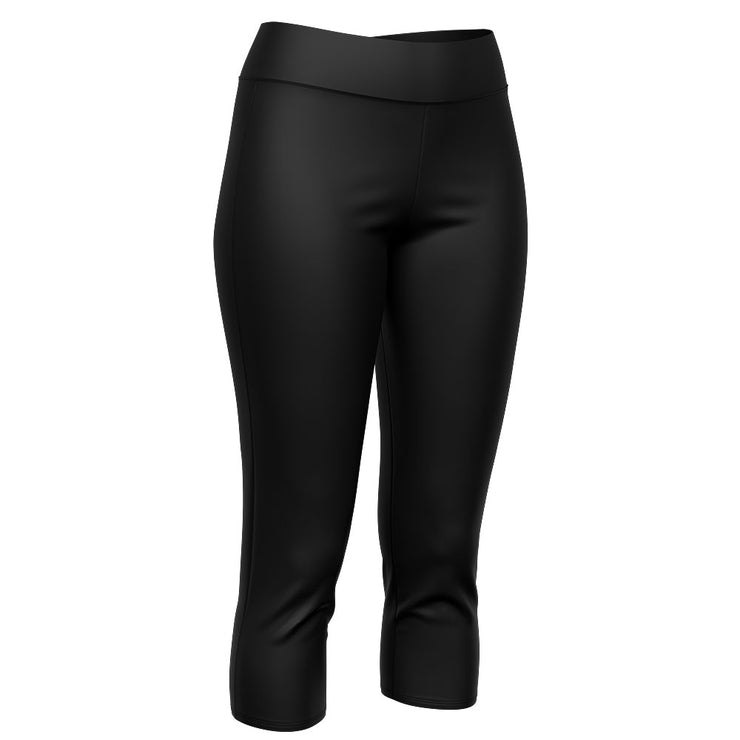 Solid Black 3/4 Length Riot Leggings with Pockets