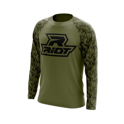 Olive Digi Camo Long Sleeve Shirt with Black Riot Logo