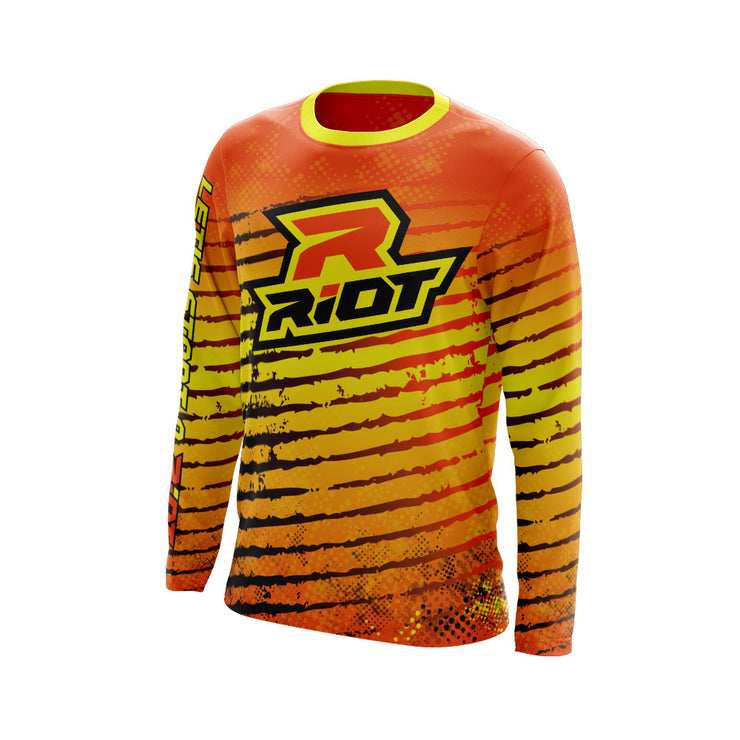 Multi-Color Neon Orange Yellow Black Full Dye Long Sleeve Riot Jersey