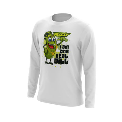 **NEW** White Long Sleeve Shirt with Real Dill Riot Logo