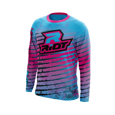 Multi-Color Neon Pink Blue Black Full Dye Long Sleeve Riot Jersey