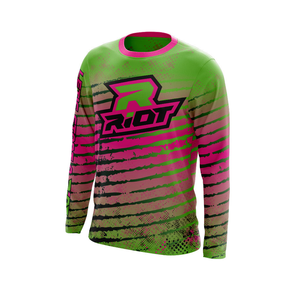 Multi-Color Neon Pink Green Black Full Dye Long Sleeve Riot Jersey