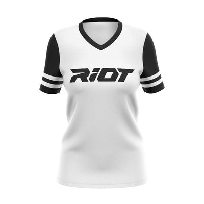 **NEW** White/Black Cotton Womens V-Neck with Black Screen Print Riot Logo