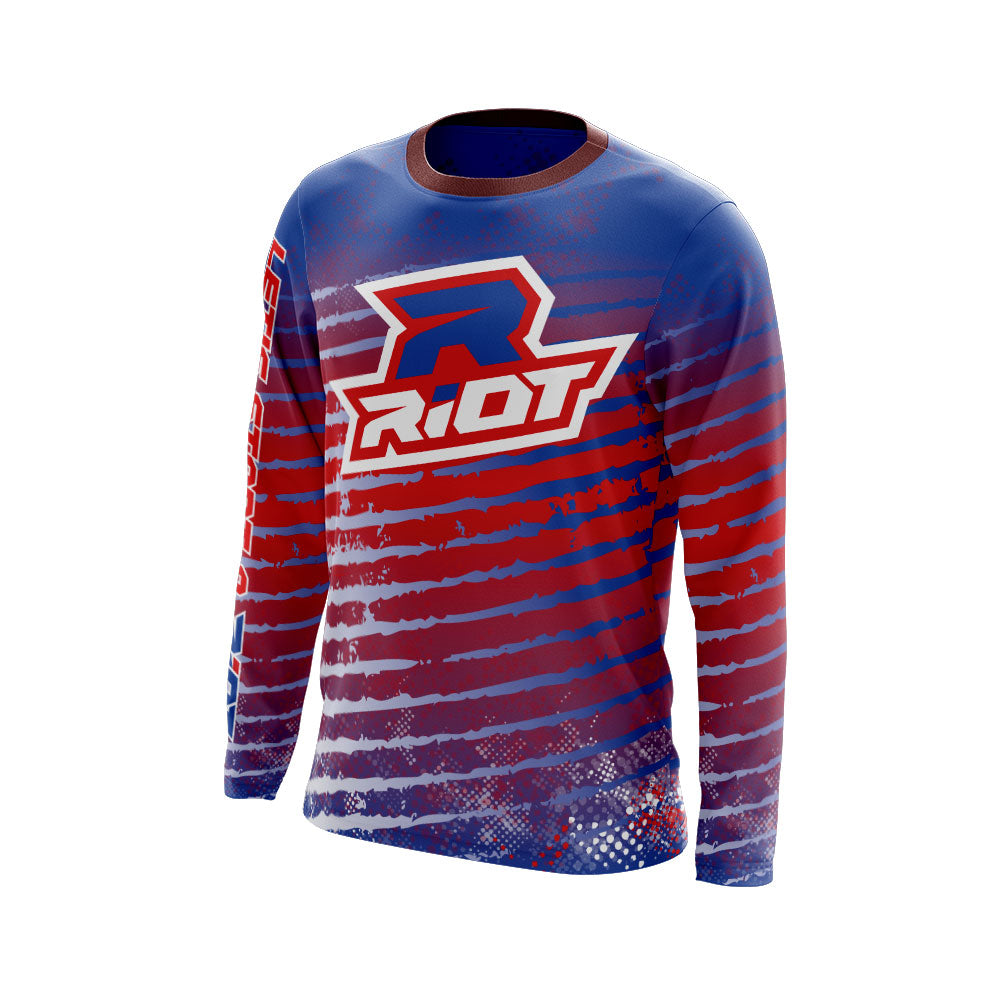Multi-Color Red White Blue Full Dye Long Sleeve Riot Jersey