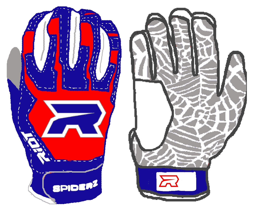 Spiderz Web Series Riot Red White and Blue Batting Gloves