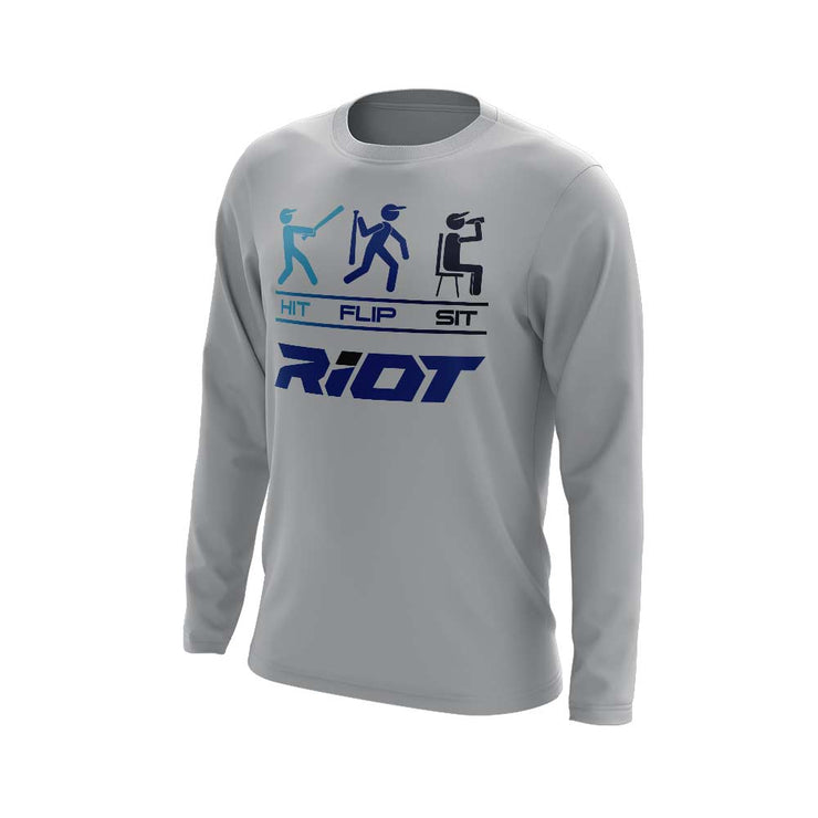 Grey Long Sleeve Shirt with Hit Flip Sit Riot Logo - Choose your logo color