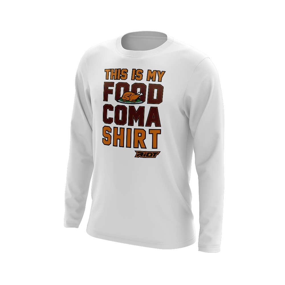White Long Sleeve with Riot Food Coma Logo