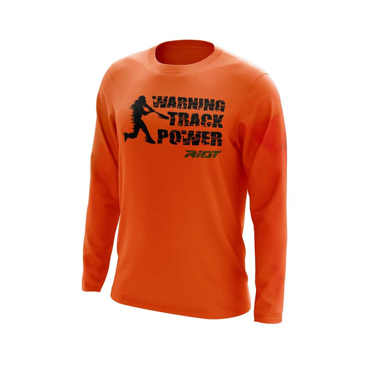 Neon Orange Long Sleeve with Warning Track Power Riot Logo