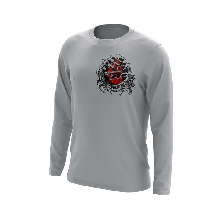 Grey Long Sleeve Shirt with Halloween Bleeding Heart Riot Logo