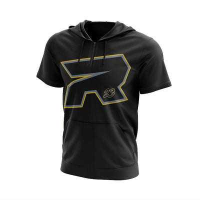 **BUY IN** Full Dye Short Sleeve 1/4 Zip Hooded Silver & Gold Riot Blackout Shirt - Customizable