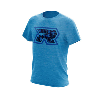 **New** Pond Blue Heather Athletic Triblend Shirt with Hex Riot Logo - Choose your shirt style
