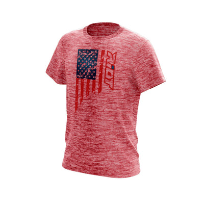 Red Electric Short Sleeve with US Flag Riot Logo