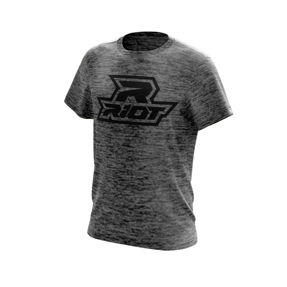 Grey-Black Electric Short Sleeve with Black Riot Logo