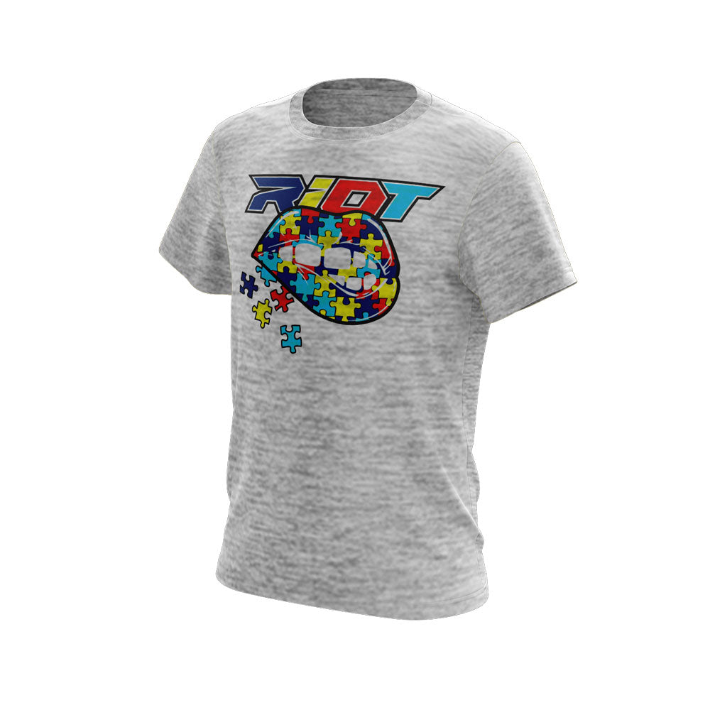 Silver Electric Short Sleeve with Autism Lips Riot Logo