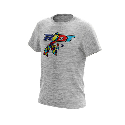 Silver Electric Short Sleeve with Autism Ribbon Riot Logo