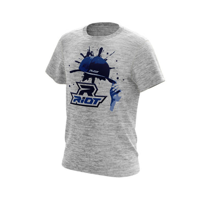 Silver Electric Short Sleeve with Blue Hat Riot Logo