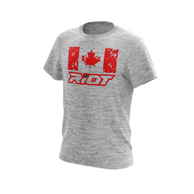 Silver Electric Short Sleeve with Canada Maple Leaf Red Riot Logo