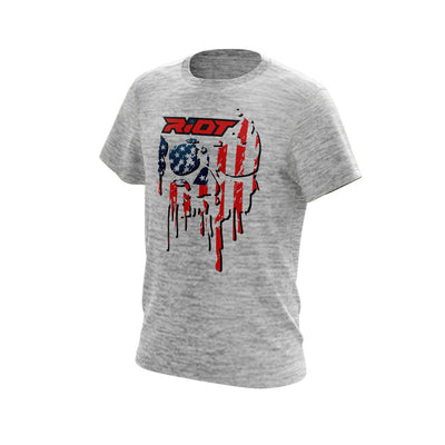 Silver Electric Short Sleeve with US Flag Skull Riot Logo