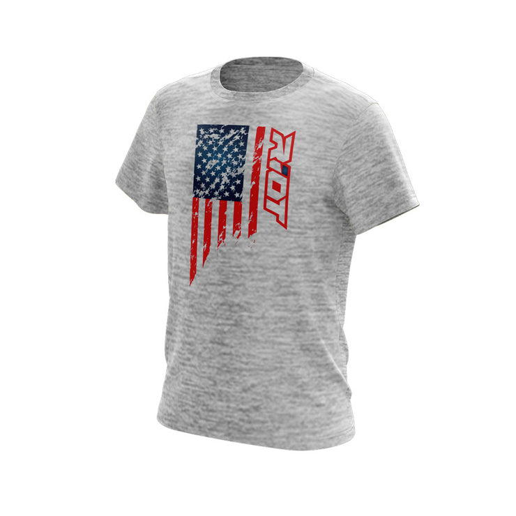 Silver Electric Short Sleeve with US Flag Riot Logo