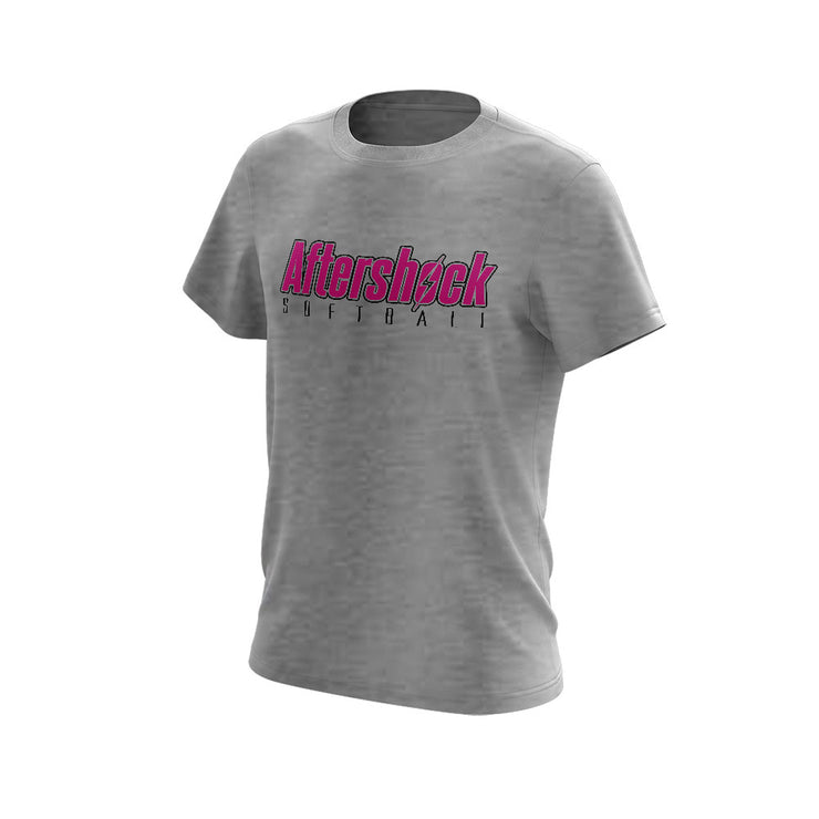 Light Grey Triblend Short Sleeve Shirt with Aftershock 8U Pink Logo