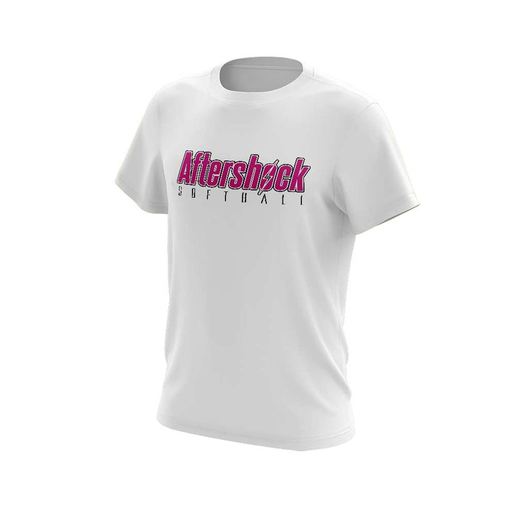White Short Sleeve Shirt with Aftershock 8U Pink Logo