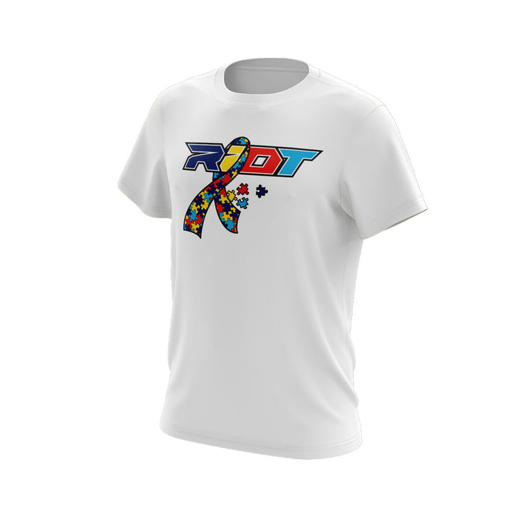 White Short Sleeve with Autism Ribbon Riot Logo