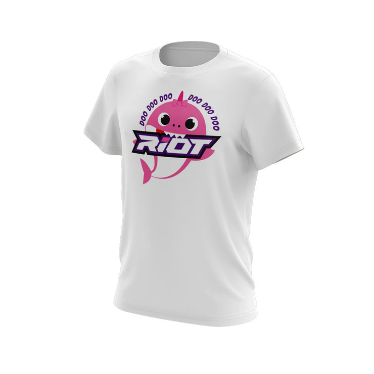 White Short Sleeve with Baby Shark Girl Riot Logo