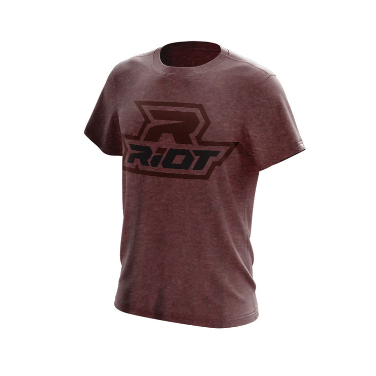 Heather Burgandy Triblend Short Sleeve with Black & Burgandy Riot Logo