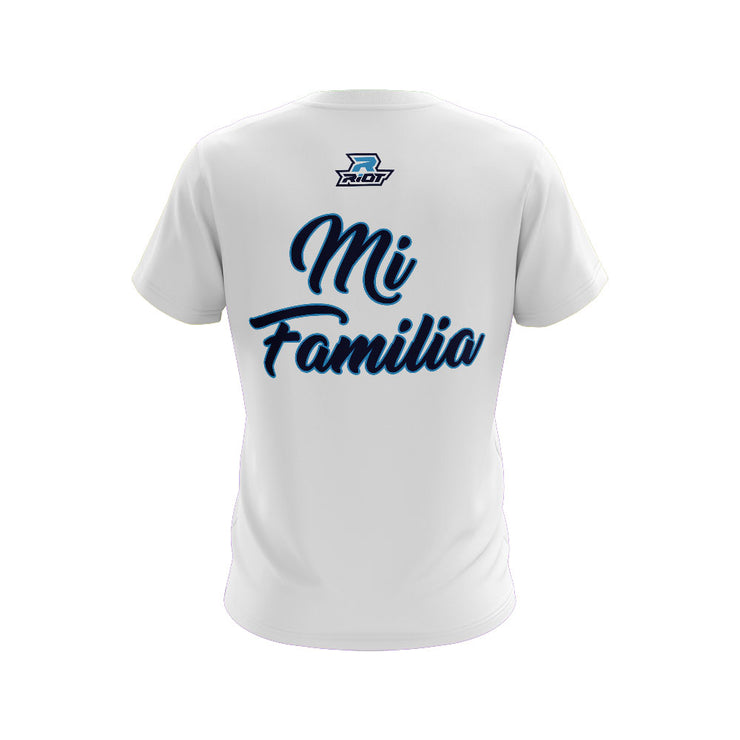 **NEW** White Short Sleeve with Mi Familia Riot Logo (choose your logo color)