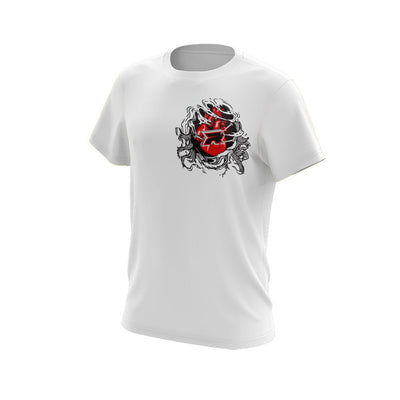 White Short Sleeve Shirt with Halloween Bleeding Heart Riot Logo