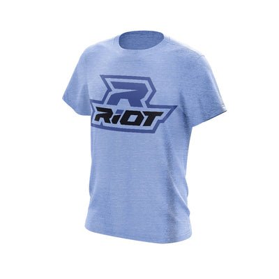 Heather Athletic Blue Triblend Short Sleeve with Black & Blue Riot Logo