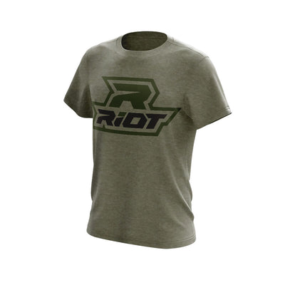 Heather Military Green Triblend Short Sleeve with Black & Green Riot Logo