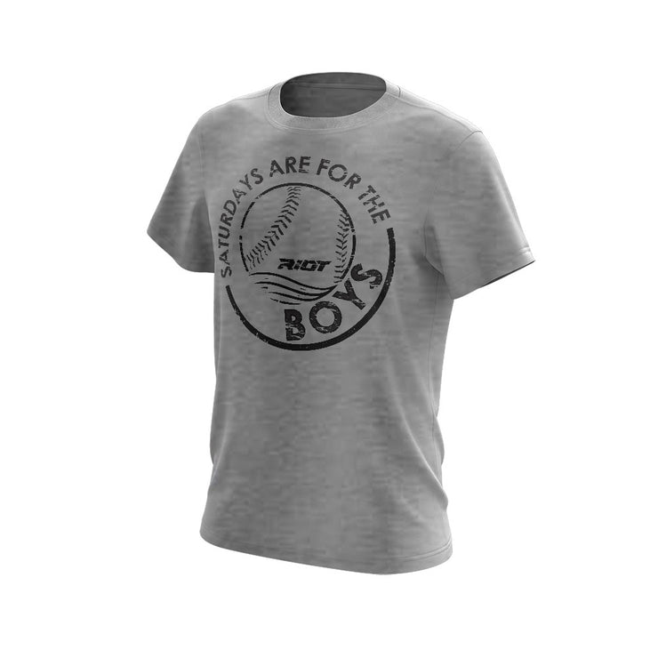 Light Grey Triblend Short Sleeve with Saturdays BOYS Riot Logo