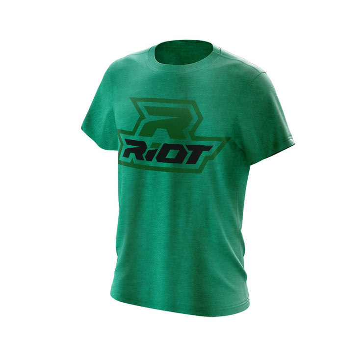 Heather Kelly Green Triblend Short Sleeve with Black & Green Riot Logo