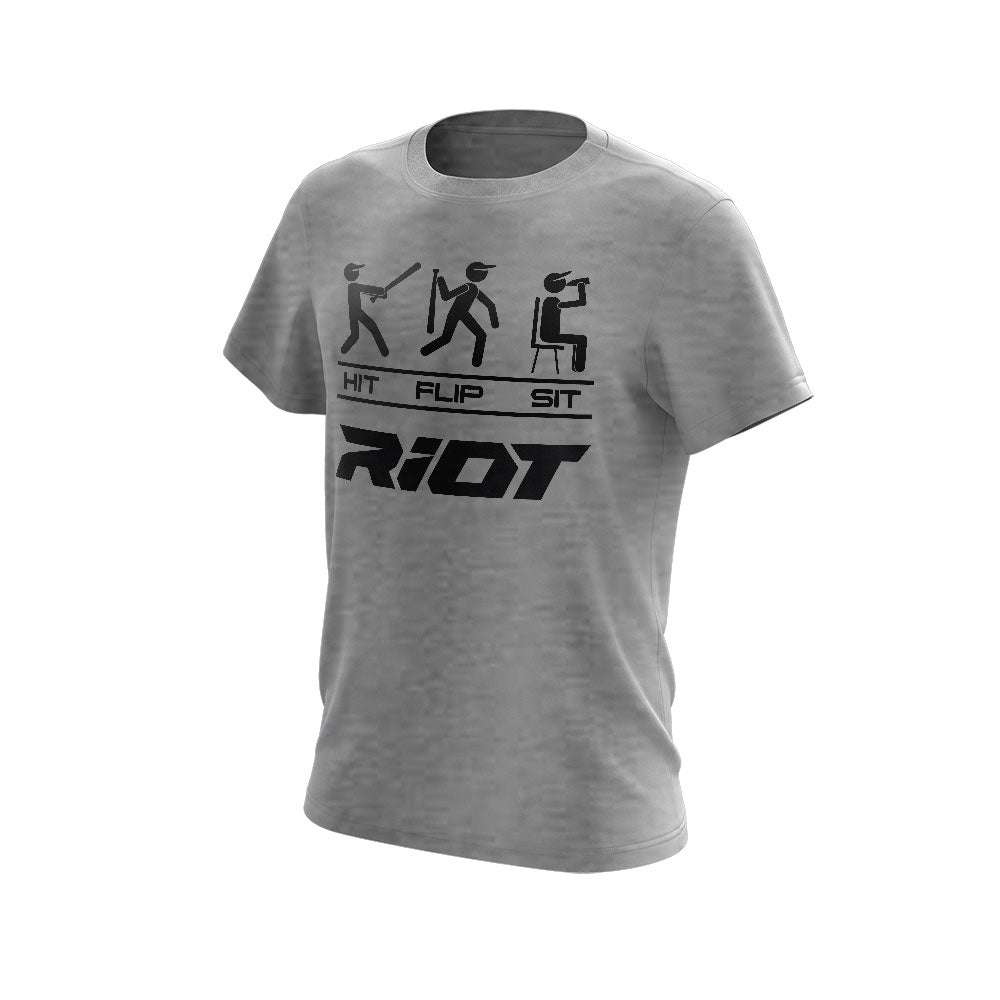 **NEW** Light Grey Triblend Short Sleeve with Hit Flip Sit Riot Logo
