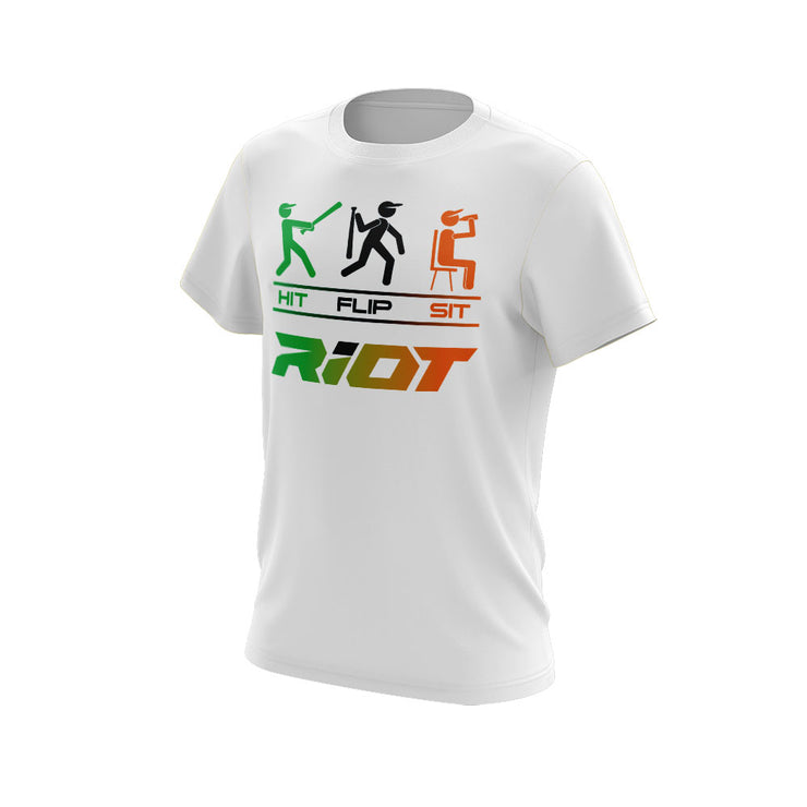 **NEW** White Short Sleeve Shirt with Hit Flip Sit Riot Logo - Choose your color logo