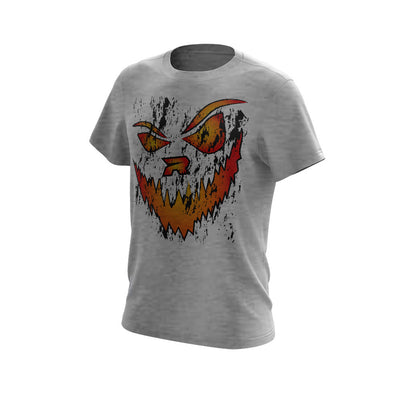 Light Grey Triblend Short Sleeve with Halloween Jack-O-Lantern Riot Logo