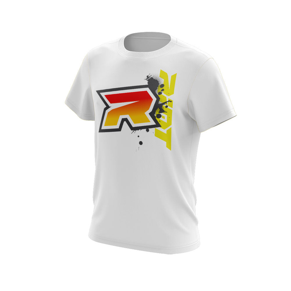 Red Yellow Grey Riot Logo