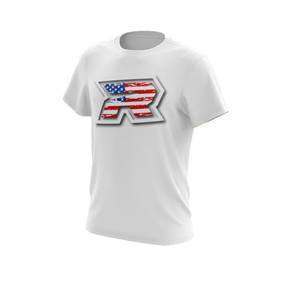 White Short Sleeve with USA White R Riot Logo