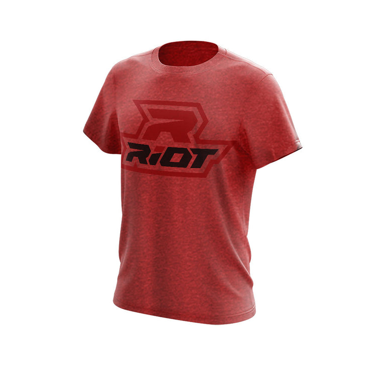 Heather Red Triblend Short Sleeve with Black & Red Riot Logo